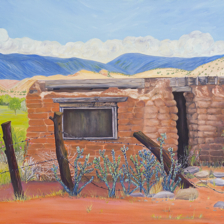 """Eroding Adobe in Abiquiu Pasture"" 30""x24"" Oil on canvas Abiquiu, New Mexico title="