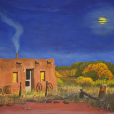 """Spirit Adobe""  24""x30"" Oil on Canvas. Cerrillos, New Mexico title="