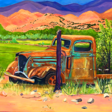 """Truck in Abiquiu Pasture""  SOLD. 24""x30"" Oil on Canvas. Abiquiu, New Mexico. title="