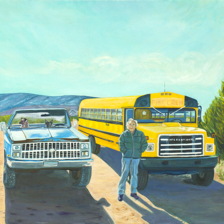 """Tio and his Bus"" Abiquiu New Mexico.24x30 Oil on canvas. Tio Manzanares was Georgia O'keefe's  assistant for 12 Years. How I came to know him living in a bus in the middle of the desert in Abiquiu is another Santa Fe story. title="