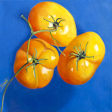 """Brilliant Tomatoes"" 12""x12"" Oil on canvas title="
