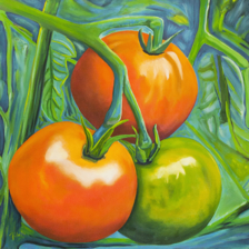 """Luminous Tomatoes"" 3' x 3' Oil on Canvas title="