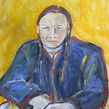 """Sitting Native"" This is a native from the 5 Northern pueblos in New Mexico, The information is on the back. This framed painting is missing in Glastonbury Ct. title="