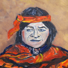 """Acoma Pueblo Native"" 2006 Oil on canvas. This is a native from the 5 Northern pueblos in New Mexico, The information is on the back. This framed painting is missing in ? title="