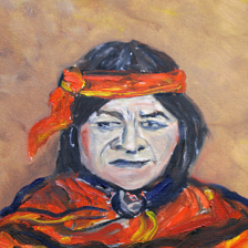 """Acoma Pueblo Native"" 2007 Oil on canvas. This is a native from the 5 Northern pueblos in New Mexico, The information is on the back. title="