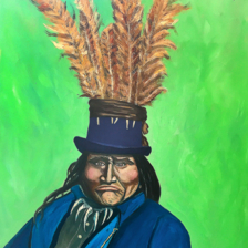 "Sold ""Chippewa Native goes to Washington DC"" 2018 30 ""x 20"" Oil on canvas title="